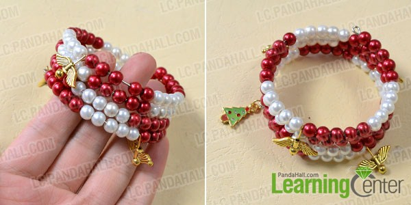 Add Christmas tree and angels to simple red and white bracelet