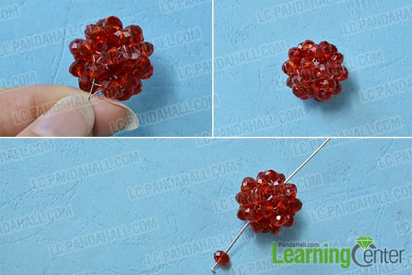 Make a red glass beaded Christmas ball dangle