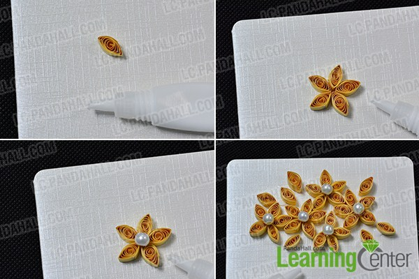 make the yellow quilling paper flowers