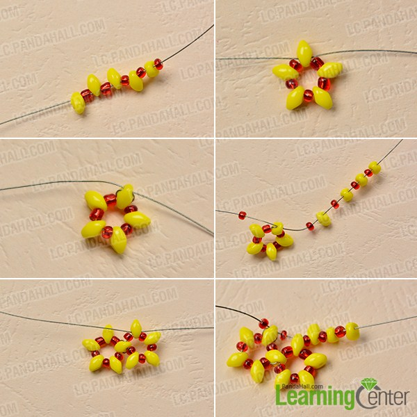 make the first part of the yellow seed bead ball earring
