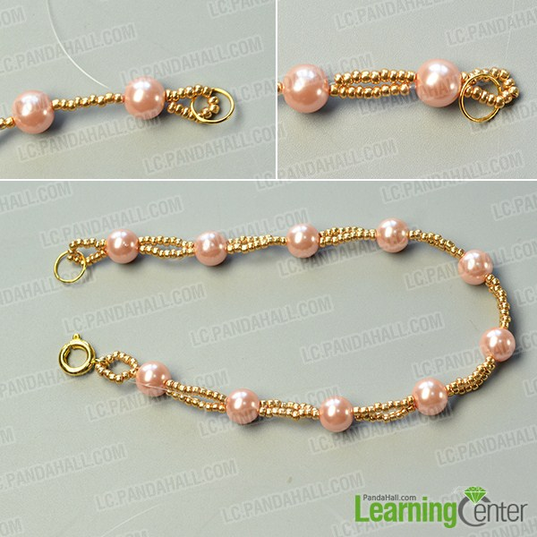 make the second part of the pink and white pearl bead bracelet