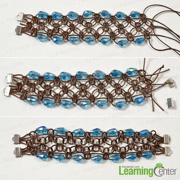 Make the sixth part of the wide coffee cord braided bracelet