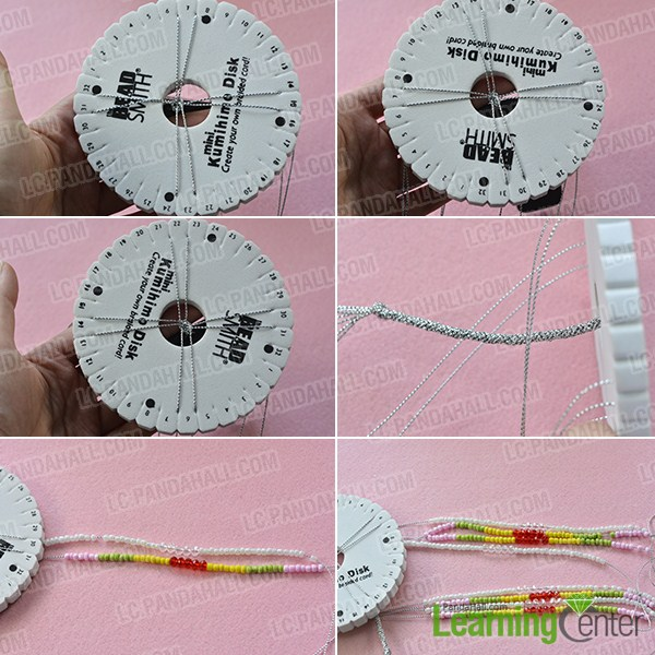 make the second part of the kumihimo seed bead necklace