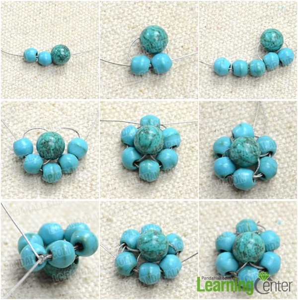 Step 1: Make turquoise beaded flower