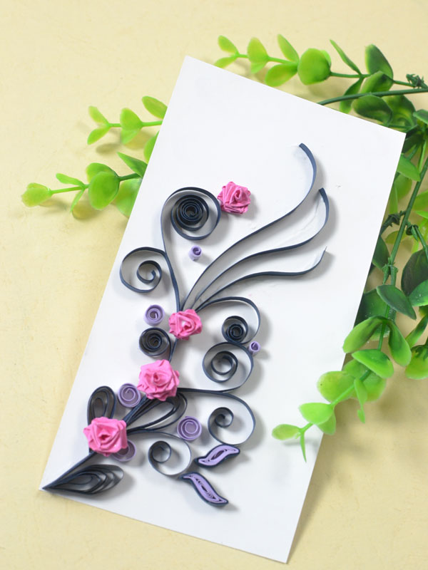 final look of the handmade quilling paper rose card