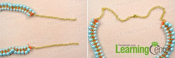 Finish the woven pearl chain necklace patterns