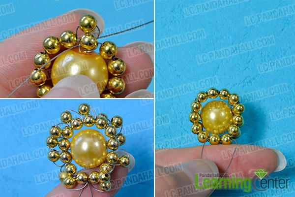make the second part of the blue rhombus beaded flower brooch