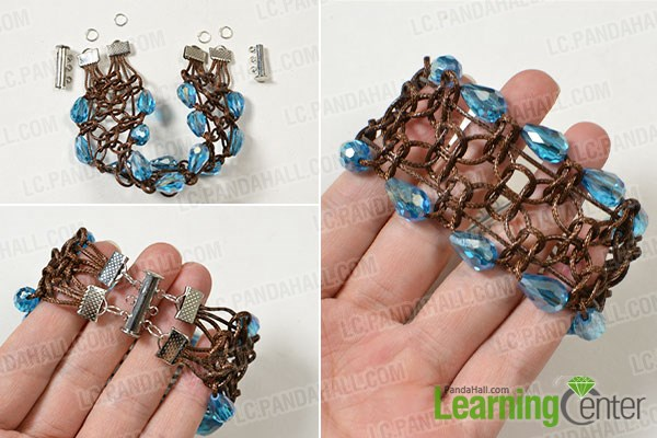 Finish the wide coffee cord braided bracelet
