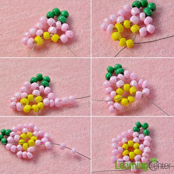 Bead the first pink flower pattern
