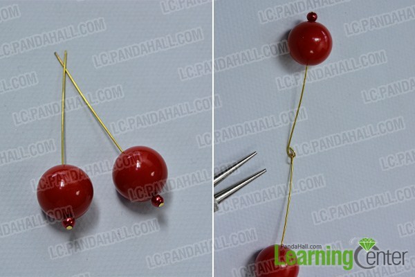 make the first part of the green ribbon and red beaded cherry brooch
