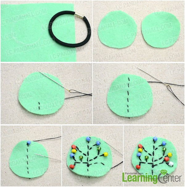 Step 1: Make fruit tree embroidery with beads