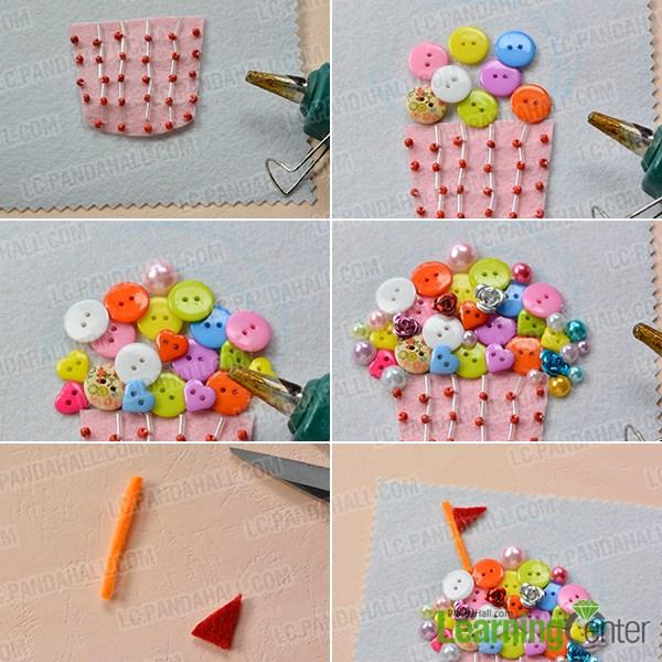 Add colorful acrylic button ice creams