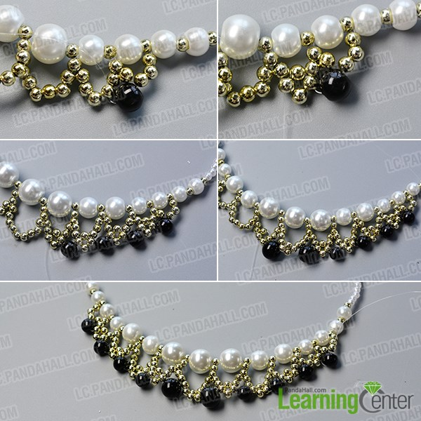 Finish the handmade white and black pearl necklace