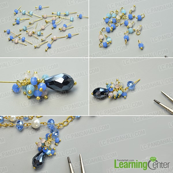 make the third part of the pretty handmade glass beads chain necklace