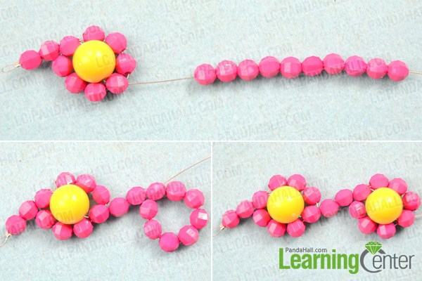 Make basic beaded flower necklace pattern