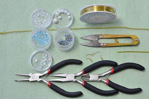supplies needed in DIY the bead hoop and chain tassel earrings