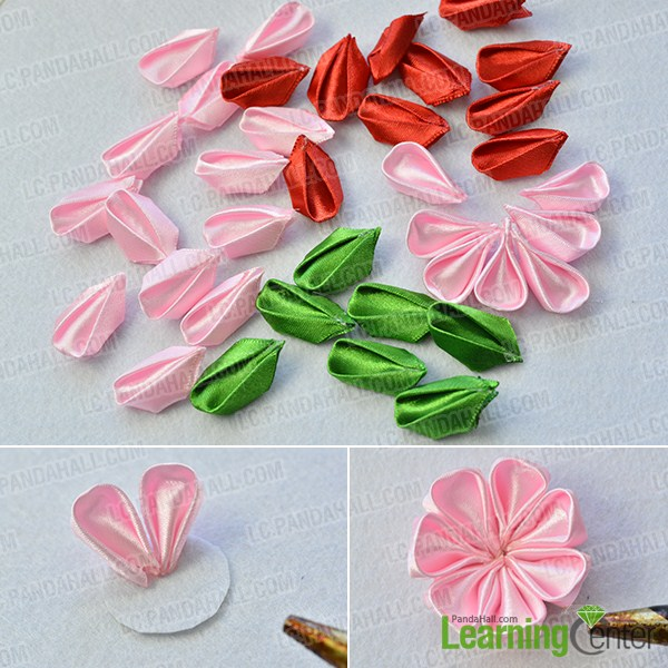 make the second part of the Japanese ribbon hair accessories