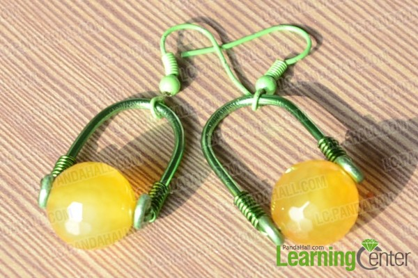 the finished diy yellow earrings