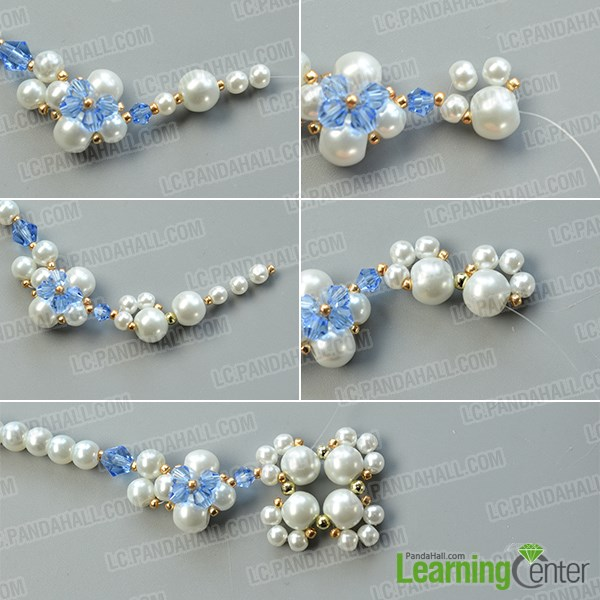Make the base of the second pearl bead flower pattern