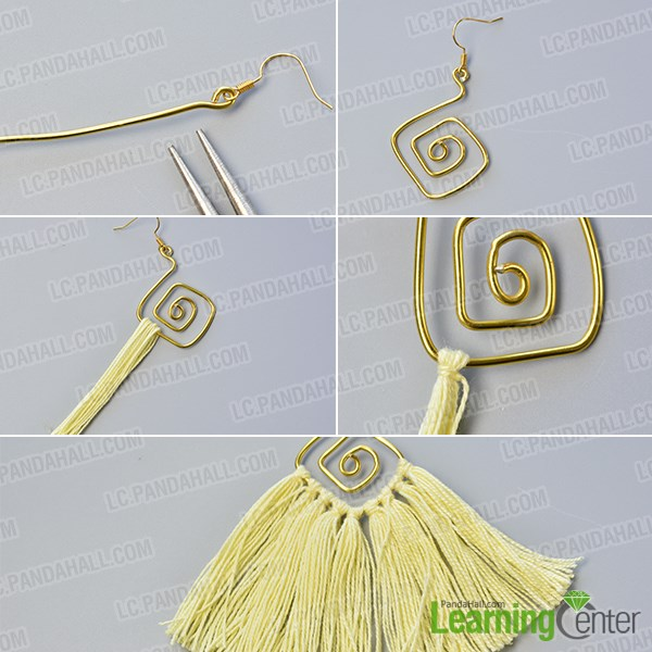 Hang many yarn tassels to a wire wrapped dangle pattern