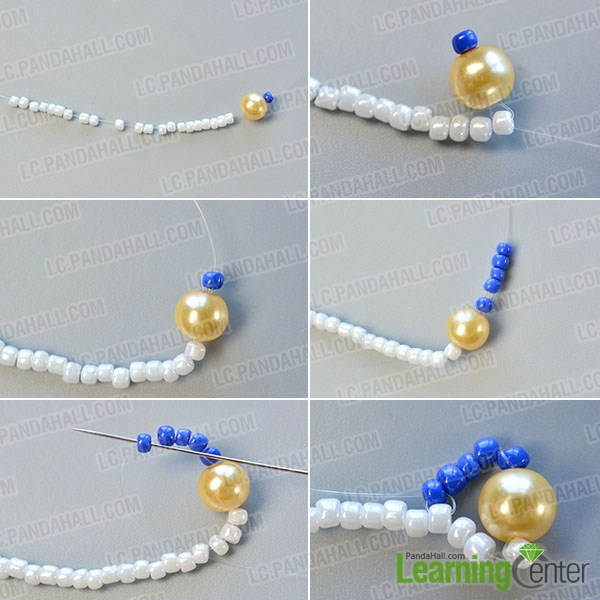 make the first part of the blue seed bead stitch wide bracelet