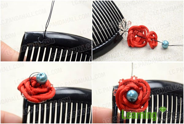 add the first knot rose on comb by using wire
