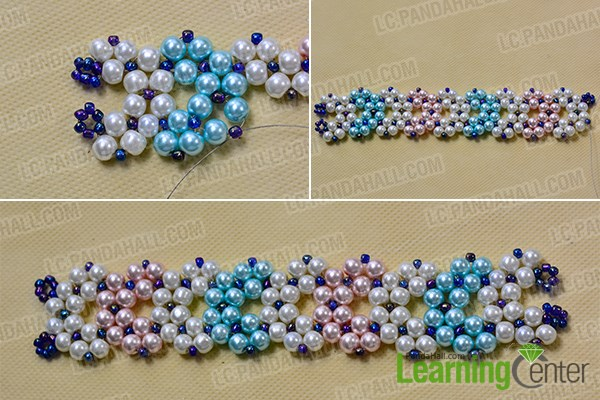 Stitch the pearl beads bracelet