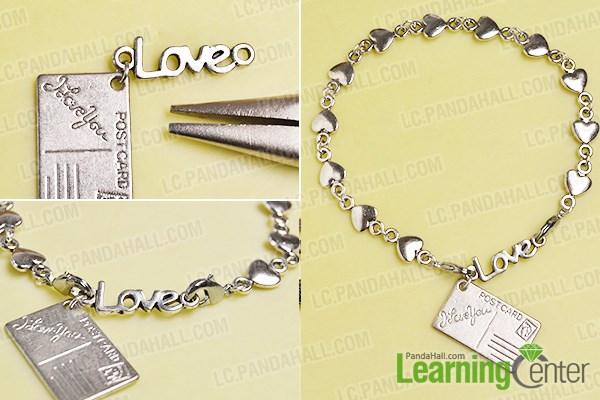 Finish the postcard charm bracelet