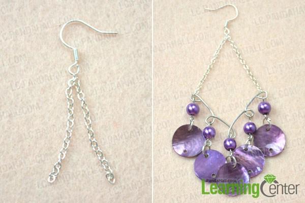 Finish DIY shell chandelier earrings