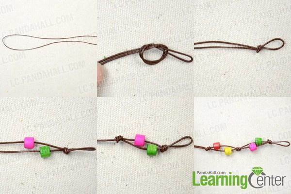 Instruction on making knot leather bracelet
