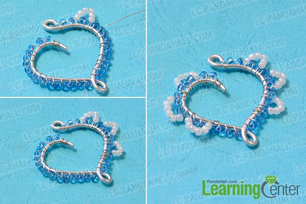 Decorate heart with white seed beads