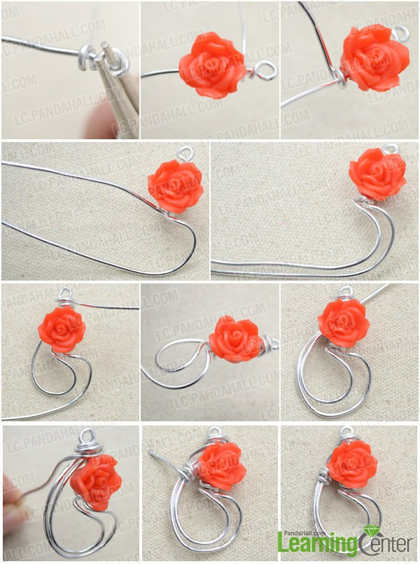 2 Steps to Make Rose Spray Earrings with Silvery Wire and Polymer ...