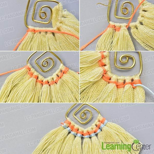 Décor the yarn wisps with nylon threads
