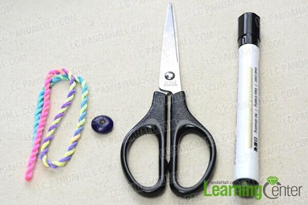 materials in nautical knot bracelet DIY