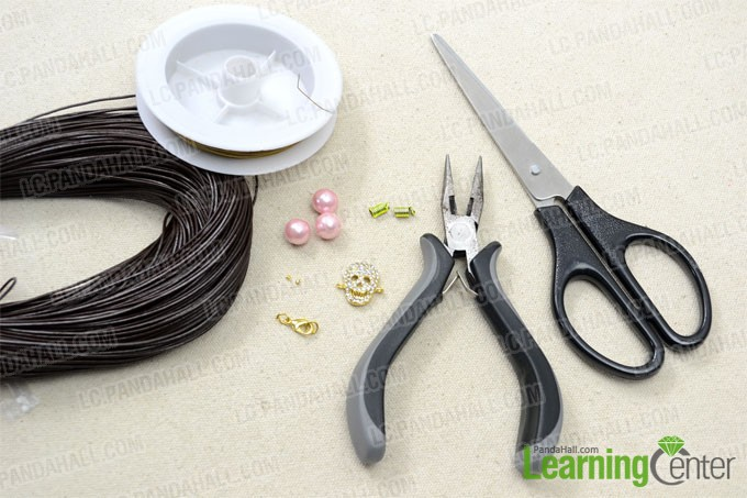 Supplies needed in the leather braided bracelet