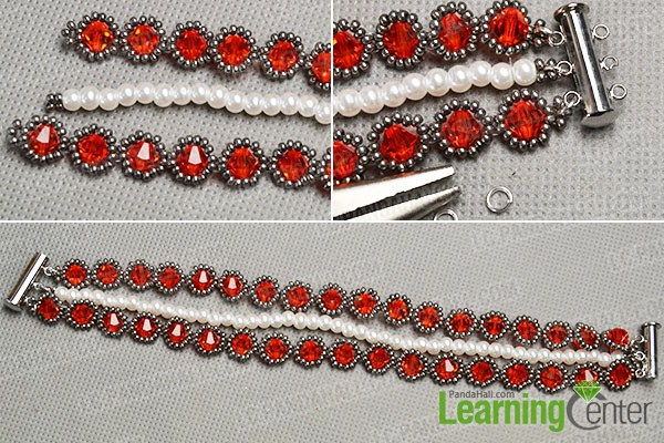 make the rest part of the red glass bead bracelet