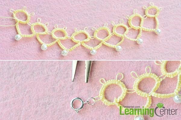 make the rest part of the handmade yellow string flower bracelet