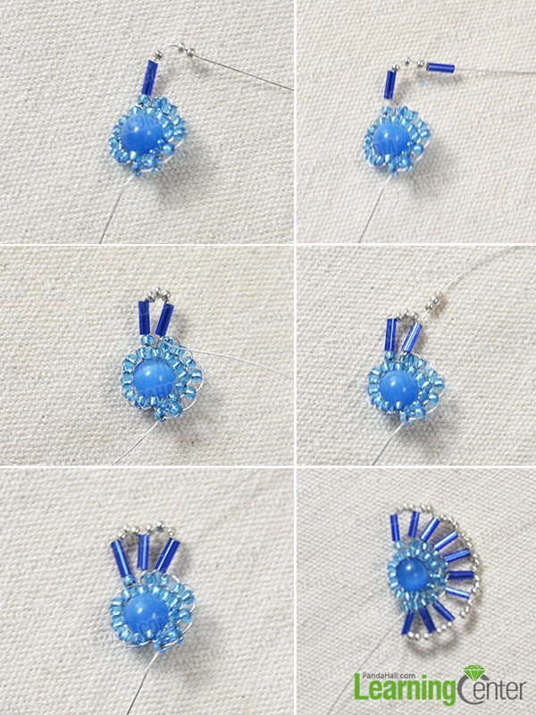 add blue tube beads and silver seed beads