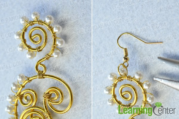 finish the wire wrapped pearl earrings making