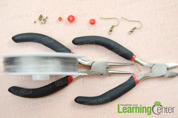 Materials on how to make simple bead earrings