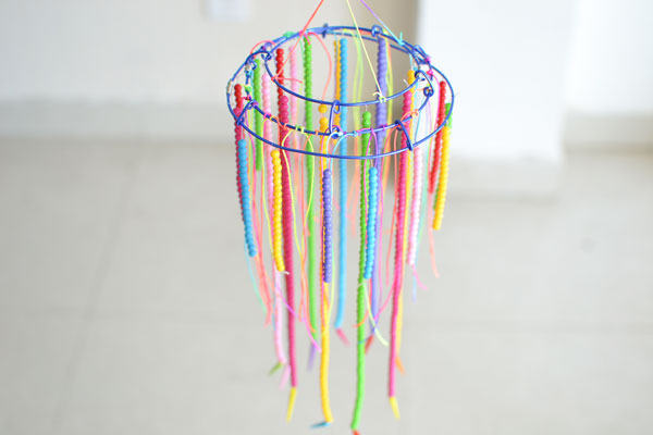 Diy beaded chandelier how to make hanging decoration with colorful the final look of the easy diy beaded chandelier aloadofball Image collections