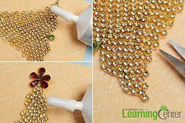 Step 3: Add rhinestone beads to the handmade Christmas tree