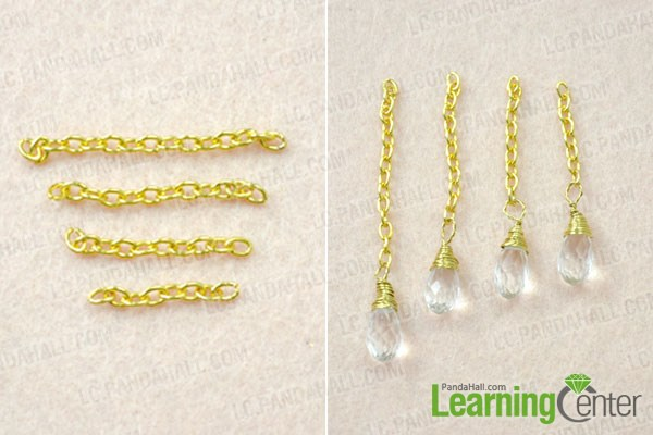 Make the chain dangles for the gold chain link earrings