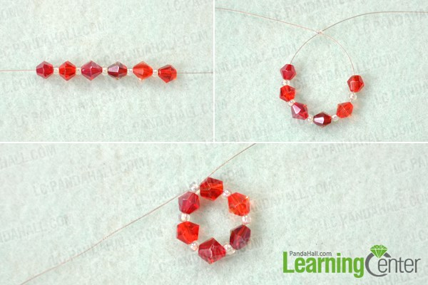 Make center of beaded snowflake earrings