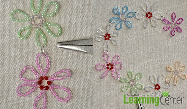 make seed bead flowers and combine them together3