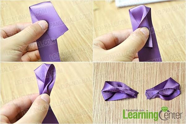 make two satin ribbon pieces