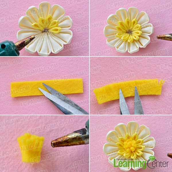 make the second part of the yellow ribbon flower headband