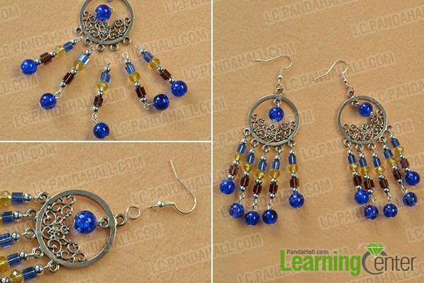 Finish the beaded tassel earrings