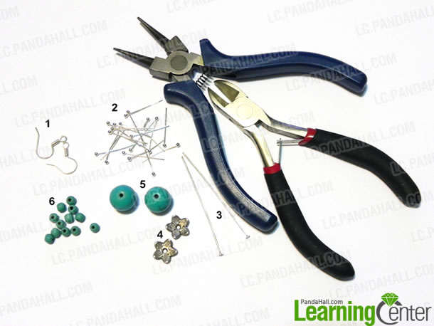 materials for making turquoise beads earring