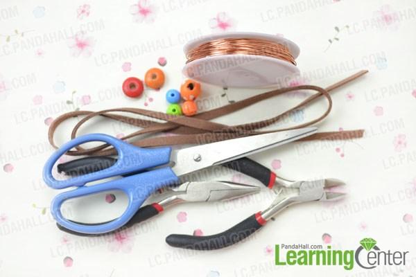 Materials needed in cord bracelet DIY
